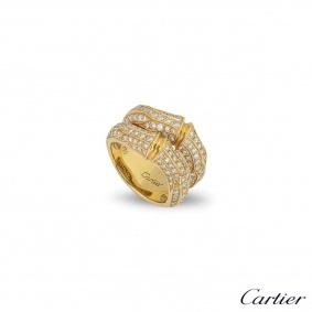 Cartier Yellow Gold Diamond Bamboo Ring